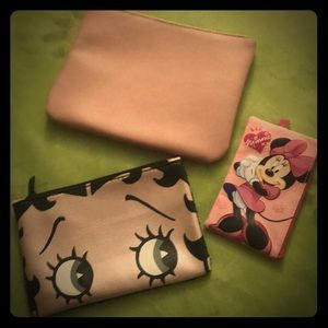 Trio of pink zip bags - Betty Boop - Minnie Mouse